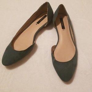 Zara Basics Green Faux Suede D'orsay Flats 39/8.5